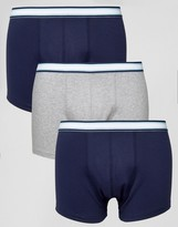 Asos Trunks With Stripe Waistband 3 Pack SAVE