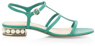 Nicholas Kirkwood Casati Faux Pearl Leather T-Strap Sandals