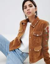 Urban Code Urbancode Studded Trucker Jacket with Contrast Embroidery