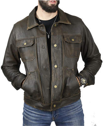 Frye Men Leather Trucker Jacket