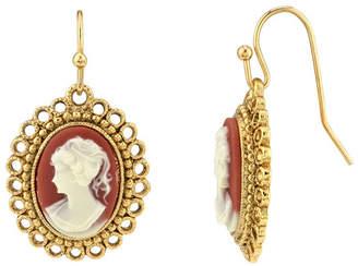 Downton Abbey 14K Gold-Dipped Carnelian Cameo Oval Drop Wire Earrings