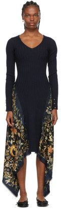 Lanvin Navy Knit Silk Print Dress