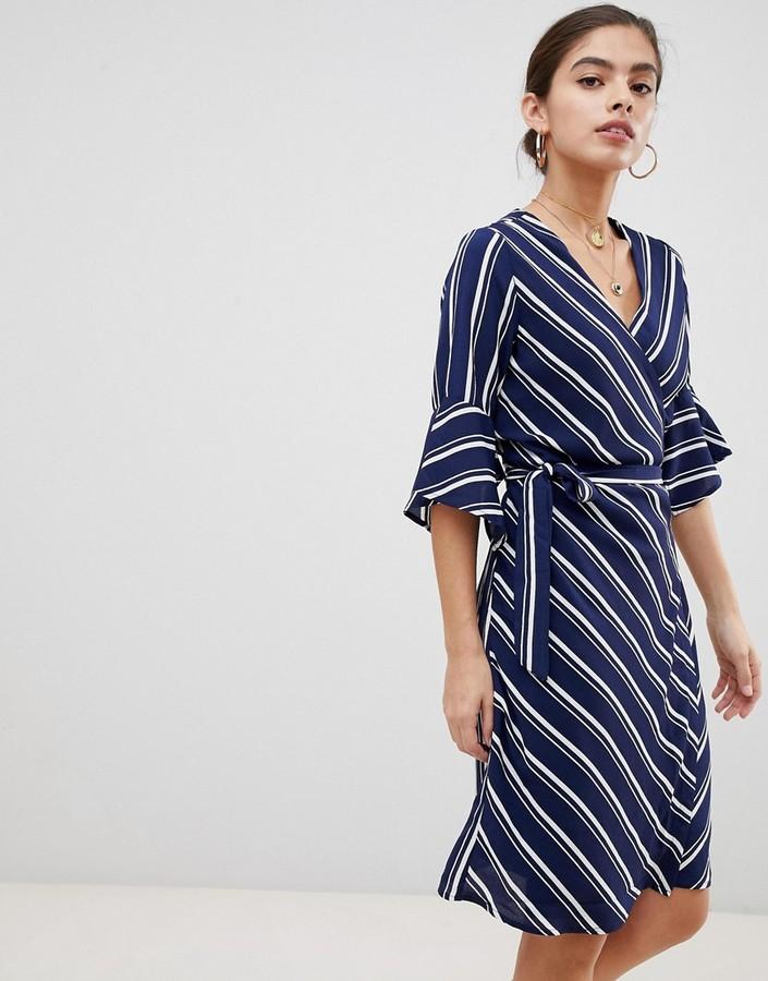UNIQUE21 sleeve striped wrap front dress-Navy