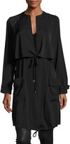 Laundry by Shelli Segal Silky Self-Tie Anorak Jacket, Black