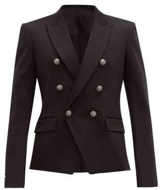 Balmain Double Breasted Cotton Blend Blazer - Mens - Black