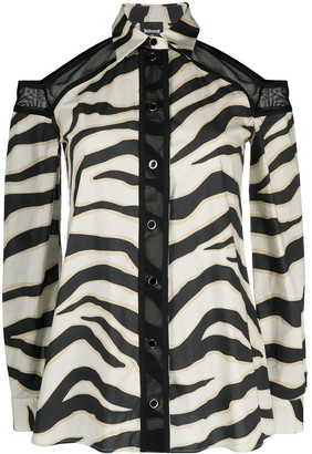 Just Cavalli Zebra-Print Cut-Out Long-Sleeved Blouse