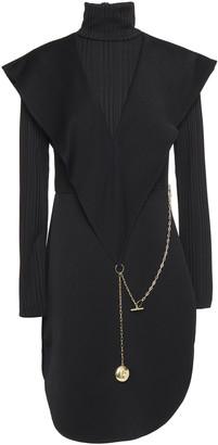 Ellery Embellished Cady And Ribbed-knit Turtleneck Mini Dress