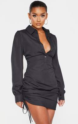 PrettyLittleThing Black Ruched Side Fitted Shirt Dress
