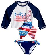 "Big Chill Girls 4-16 Surfer Girl"" Rashguard, Tankini & Scoop Bottoms Swimsuit Set"