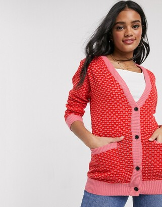 Brave Soul funkie textured stitch cardigan in pink