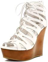 Allegra K Woman Lace-Up Cutout Open Toe Wedge Sandals (Size US 9)