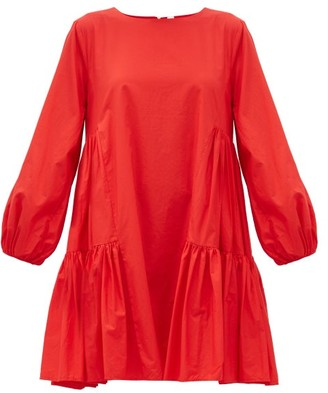 Merlette New York Byward Balloon-sleeve Cotton-poplin Dress - Red