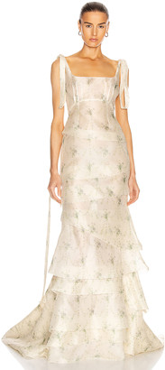 Brock Collection Quarrie Tiered Floral Maxi Dress in Natural | FWRD