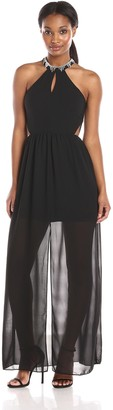 Minuet Women's Keyhole Gown with Embellished Neck