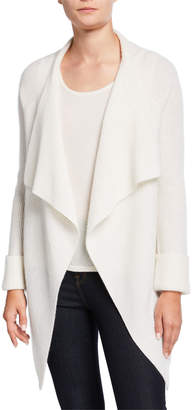 Neiman Marcus Cashmere Ribbed Drape-Front Cardigan