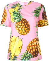 Dolce & Gabbana pinapple print T-shirt - women - Cotton - 46