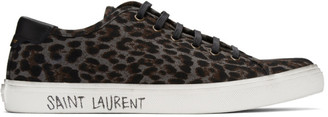 Saint Laurent Grey Leopard Malibu Sneakers