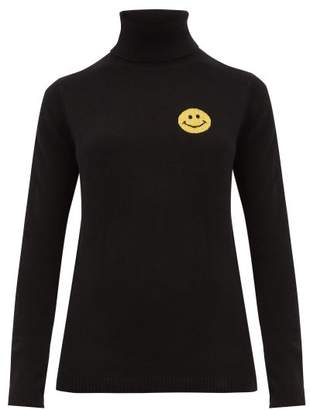 Bella Freud Happy Roll-neck Cashmere-blend Sweater - Womens - Black Yellow