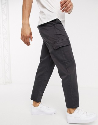 Topman wide leg cargo pants in gray