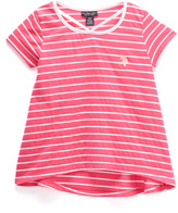U.S. Polo Assn. Neon Hot Pink & White Stripe Hi-Low Tee - Toddler & Girls