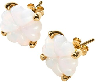 Baccarat Gold-Plated Sterling Silver and Crystal Trefle Stud Earrings
