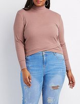 Charlotte Russe Plus Size Ribbed Wrap-Front Crop Top