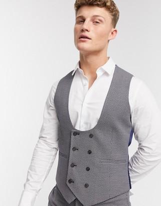 Asos Design DESIGN wedding super skinny suit waistcoat in micro texture in tan