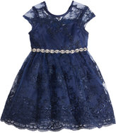Rare Editions Embellished-Waist Lace Fit & Flare Dress, Baby Girls (0-24 months)