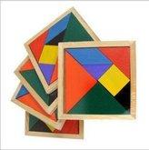 Efbock Color Wooden Tangram Brain Teaser Puzzle Educational Developmental Kids Toy 1pcs