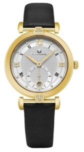 Stuhrling Original Alexander Watch AD202-03, Ladies Quartz Small-Second Date Watch with Yellow Gold Tone Stainless Steel Case on Black Satin Strap