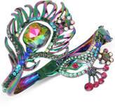 Betsey Johnson Oilslick-Tone Multi-Stone Peacock Open Hinged Bangle Bracelet