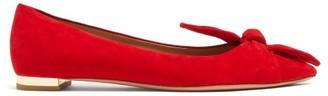 Aquazzura Bowtie Suede Ballet Flats - Red