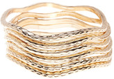 Natasha Accessories Hammered Wavy Bangle Set - Set of 6