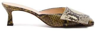 Wandler Isa Square-toe Python-effect Leather Mules - Green Multi