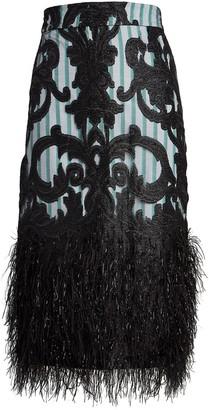 Ganni Layered Feathers Midi Skirt
