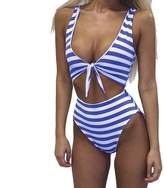 Moxeay Women Sexy V Neck Stripe One Piece Swimsuit with Chest Knoted
