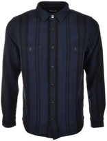 Edwin Labour Check Flannel Shirt Navy