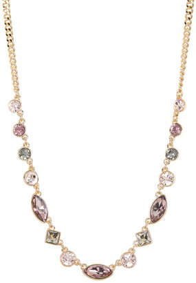 DKNY Pink Marquise & Round Stone Accent Necklace