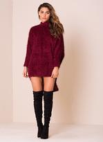 Missy Empire Kenna Wine Fluffy Jumper Dress