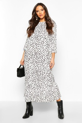 boohoo Maternity Polka Dot Ruffle Hem Midi Dress