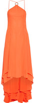 Halston Asymmetric Georgette Gown - Bright orange