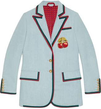Gucci Denim jacket with cherry patch