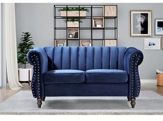 """Rosdorf Park Cavet Velvet Chesterfield 59.1"""" Rolled Arms Loveseat Fabric: Dark Blue"""