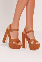Missguided Cross Strap Platforms Tan