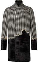 Haider Ackermann Embroidered Houndstooth Wool And Velvet Coat - Black