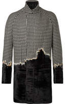 Haider Ackermann Embroidered Houndstooth Wool And Velvet Coat