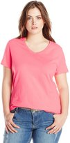 Just My Size Women's Plus-Size Short Sleeve V-Neck Tee
