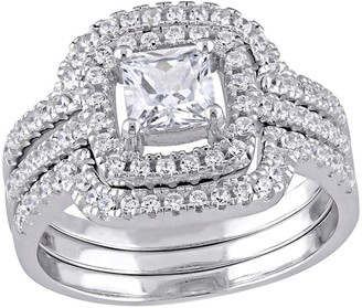 Nobrand No Brand 2 1/2 CT. T.W. Square Cubic Zirconia Halo Bridal Set in Sterling Silver - ()