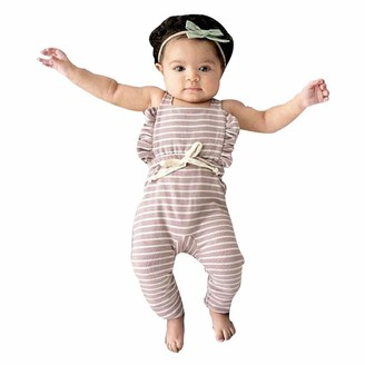 Cocila Baby Boys Girls Romper Toddler Bodysuit Infant Newborn Sleeveless Backless Striped Ruffle Jumpsuit Outfit Set