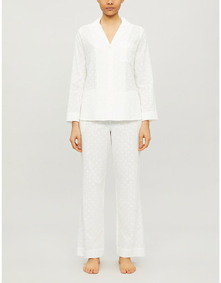 Selfridges Geometric-patterned cotton pyjama set